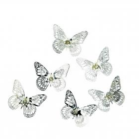 Schmetterling silber 5 cm 6 Stück