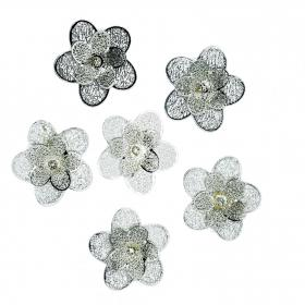 Blume Silber 5cm (6 Stück)