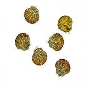 Muschel Kristal gold 4 cm (6 Stück)