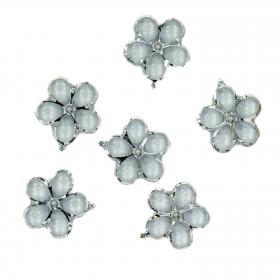 Blume Kirstall silber 4 cm (6 Stück)