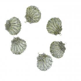 Muschel Kristall silber 4 cm (6 Stück)