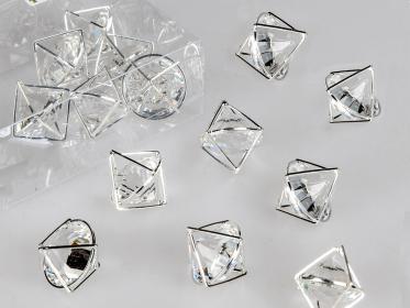 Pyramide Kristall silber 2cm (6 Stück)